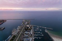 Port of Gdynia at sunset, top view Stock Photo