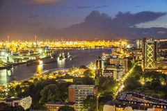 Aerial view on the port of Hamburg at the evening Stock Photos