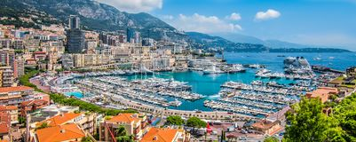 Panoramic view of Monte Carlo harbor in Monaco. Aerial view of Port Hercule, marina and harbor for boats, luxury yachts and cruise ships in Monaco, Monte Carlo stock photo