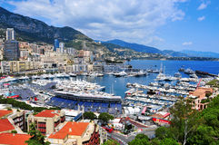 Aerial view of the Port Hercules in La Condamine and Monte Carlo Royalty Free Stock Photos