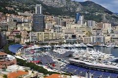 Aerial view of the Port Hercules in La Condamine and Monte Carlo Stock Photo