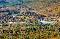 Aerial view of Port Jervis. NY crossed by Upper Delaware river as viewed from High Point peak, NJ Royalty Free Stock Photo