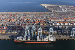Aerial View Port of Los Angeles Cargo Containers. Los Angeles, California, USA - July 10, 2017: Aerial view of Terminal Island cargo containers and ship in stock image