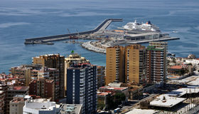 Aerial view of the Port of Malaga Royalty Free Stock Photos