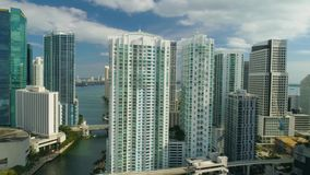 Miami Aerial 360 View Buildings Boats Miami River and Down Town