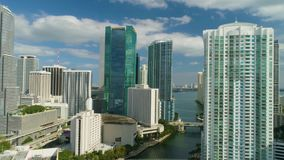 Miami Aerial 360 View Buildings Boats Miami River and Down Town. Aerial View Port of Miami and Down Town Showing Cruise Ships stock video