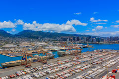 Aerial view of the port and mountains in Honolulu Hawaii. Aerial view of the port, marina and mountains in Honolulu Hawaii helicopter Royalty Free Stock Photography