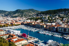 Aerial View on Port of Nice and Luxury Yachts Stock Images
