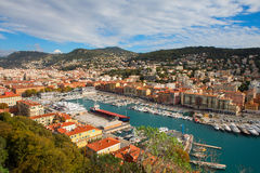 Aerial View on Port of Nice and Luxury Yachts Royalty Free Stock Photography