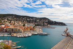 Aerial View on Port of Nice and Luxury Yachts Stock Photos
