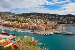 Aerial View on Port of Nice and Luxury Yachts Stock Photo
