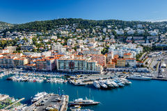 Aerial View on Port of Nice and Luxury Yachts Royalty Free Stock Photo