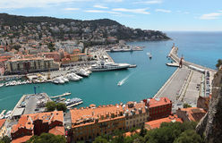Aerial View on Port of Nice and Luxury Yachts, French Riviera, France.Cote d'Azur Royalty Free Stock Photos