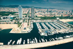 Aerial view of  Port Olimpic. Barcelona Stock Photography