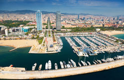 Aerial view of Port Olimpic from helicopter. Barcelona Stock Images