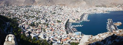 An aerial view of the port of Pothia. Greece Stock Photography