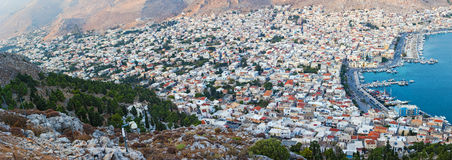 An aerial view of the port of Pothia, Kalymnos, Greece Royalty Free Stock Image