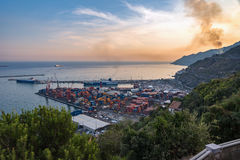 Aerial view of port in Salerno Royalty Free Stock Photography