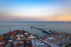 Aerial view of port in Salerno Stock Photo