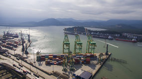 Aerial view Port of Santos - Container ship being loaded at the Royalty Free Stock Photography