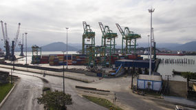 Aerial view Port of Santos - Container ship being loaded at the. Port of Santos - Container ship being loaded at the Port of Santos, Brazil Royalty Free Stock Photos