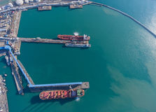 Aerial view of the port. Royalty Free Stock Photography