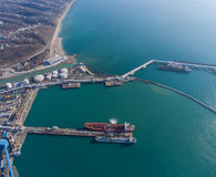 Aerial view of the port. Royalty Free Stock Image