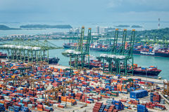 Aerial view of the port of Singapore Royalty Free Stock Images