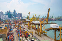 Aerial view of the port of Singapore, Stock Images