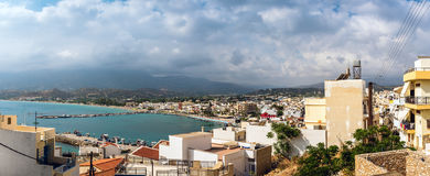 Aerial view on port of Sitia town at eastern part of Crete island, Greece Royalty Free Stock Photography