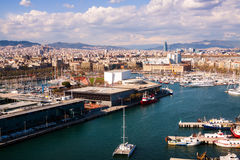 Aerial view of Port Vell and  Barcelona city Royalty Free Stock Photos