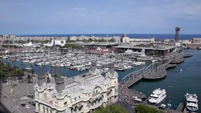 Aerial view of the port Vell in Barcelona stock footage