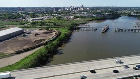 Aerial View of Port of Wilmington Delaware - Christina and Delaware Rivers.  stock footage