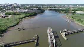 Aerial View of Port of Wilmington Delaware - Christina and Delaware Rivers.  stock video footage