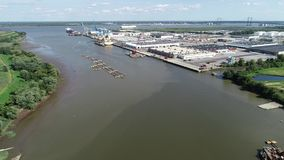 Aerial View of Port of Wilmington Delaware - Christina and Delaware Rivers.  stock video
