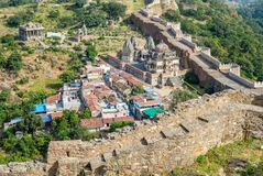 Kumbhalgarh wall in rajasthan. Aerial view of a portion of the Kumbhalgarh wall in rajasthan, india Stock Photo
