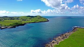 Aerial view of Portnoo in County Donegal, Ireland stock video footage