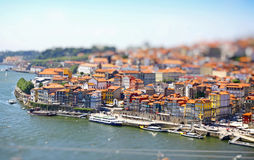 Aerial view of Porto city, Portugal. Tilt-shift Miniature Effect Stock Images
