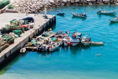 Aerial view of fihsing boats in the Porto de Abrigo de Albufeira, Albufeira Bay in Albufeira, Portugal stock images