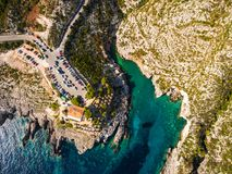 Aerial  view of Porto limnionas beach in Zakynthos Zante islan. Aerial view of Porto limnionas beach in Zakynthos Zante island in Greece Stock Photo