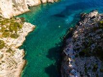 Aerial  view of Porto limnionas beach in Zakynthos Zante islan. D, in Greece Stock Image