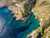 Aerial  view of Porto limnionas beach in Zakynthos Zante islan. D, in Greece Royalty Free Stock Images