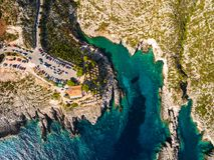 Aerial  view of Porto limnionas beach in Zakynthos Zante islan. D, in Greece Royalty Free Stock Photo