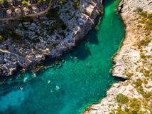 Aerial  view of Porto limnionas beach in Zakynthos Zante islan. D, in Greece Stock Photo
