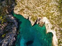 Aerial  view of Porto limnionas beach in Zakynthos Zante islan. D, in Greece Royalty Free Stock Image
