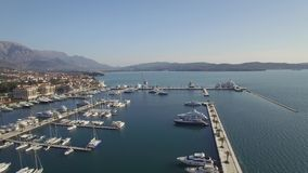 Aerial view of Porto Montenegro. Tivat city. stock video