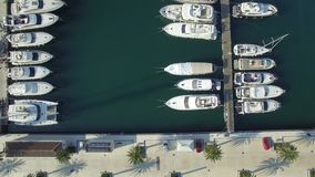 Aerial view of Porto Montenegro. Tivat city. stock video footage