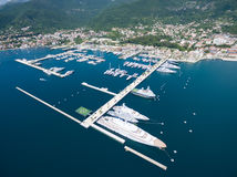 Aerial view of Porto Montenegro. Tivat city. Royalty Free Stock Images