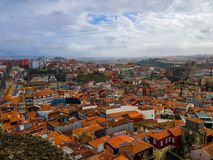 Aerial view of Porto, Portugal in a cloudy day royalty free stock photo