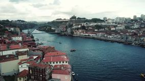 Aerial view of Porto, Portugal. Douro River and Luis I Bridge stock footage